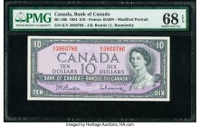 Canada Bank of Canada $10 1954 Pick 79b BC-40b PMG Superb Gem Unc 68 EPQ. Tied with one other example as the highest graded on the PMG census.   HID09...
