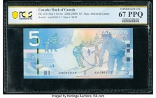 Canada Bank of Canada $5 2008 Pick 101Ab BC-67bA Replacement PCGS Superb Gem UNC 67PPQ. This holder omitted that this example is a replacement.   HID0...