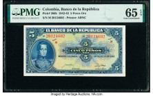 Colombia Banco de la Republica 5 Pesos Oro 20.7.1943 Pick 386b PMG Gem Uncirculated 65 EPQ.   HID09801242017  © 2020 Heritage Auctions | All Rights Re...