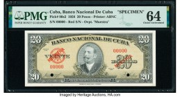 Cuba Banco Nacional de Cuba 20 Pesos 1958 Pick 80s2 Specimen PMG Choice Uncirculated 64. Previously mounted and cancelled with 2 punch holes.   HID098...