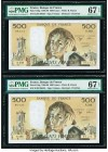 France Banque de France 500 Francs 2.2.1989 Pick 156g Three Consecutive Examples PMG Superb Gem Unc 67 EPQ (3).   HID09801242017  © 2020 Heritage Auct...