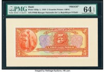Haiti Banque Nationale de la Republique d'Haiti 5 Gourdes 1919 Pick 162fp Front Proof PMG Choice Uncirculated 64 EPQ.   HID09801242017  © 2020 Heritag...