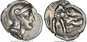 CALABRIA. Tarentum. Ca. 380-280 BC. AR diobol (13mm, 10h). NGC XF. Ca. 325-280 BC. Head of Athena right, wearing crested Attic helmet / TAPAΣ, Hercule...
