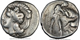 CALABRIA. Tarentum. Ca. 380-280 BC. AR diobol (13mm, 8h). NGC VF. Ca. 325-280 BC. Head of Athena left, wearing crested Attic helmet decorated with fig...