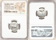 CALABRIA. Tarentum. Ca. 302-281 BC. AR nomos or didrachm (22mm, 7.84 gm, 7h). NGC AU 4/5 - 4/5. Sa- and Con-, magistrates. Nude horseman crowning hims...