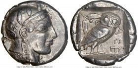 ATTICA. Athens. Ca. 465-455 BC. AR tetradrachm (25mm, 17.06 gm, 11h). NGC XF 5/5 - 4/5. Head of Athena right, wearing crested Attic helmet ornamented ...