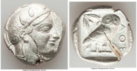 ATTICA. Athens. Ca. 455-440 BC. AR tetradrachm (26mm, 17.15 gm, 2h). XF, test cut. Early transitional issue. Head of Athena right, wearing crested Att...