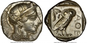 ATTICA. Athens. Ca. 440-404 BC. AR tetradrachm (25mm, 17.19 gm, 11h). NGC MS 5/5 - 4/5, brushed. Mid-mass coinage issue. Head of Athena right, wearing...