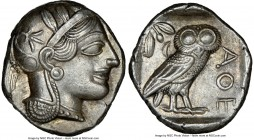 ATTICA. Athens. Ca. 440-404 BC. AR tetradrachm (25mm, 17.20 gm, 7h). NGC Choice AU 5/5 - 4/5. Mid-mass coinage issue. Head of Athena right, wearing cr...