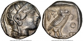 ATTICA. Athens. Ca. 440-404 BC. AR tetradrachm (24mm, 17.14 gm, 7h). NGC Choice AU 5/5 - 3/5. Mid-mass coinage issue. Head of Athena right, wearing cr...