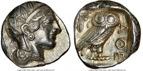 ATTICA. Athens. Ca. 440-404 BC. AR tetradrachm (24mm, 17.20 gm, 2h). NGC AU 5/5 - 5/5. Mid-mass coinage issue. Head of Athena right, wearing crested A...