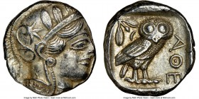 ATTICA. Athens. Ca. 440-404 BC. AR tetradrachm (22mm, 17.20 gm, 1h). NGC AU 4/5 - 4/5. Mid-mass coinage issue. Head of Athena right, wearing crested A...