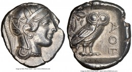 ATTICA. Athens. Ca. 440-404 BC. AR tetradrachm (25mm, 17.14 gm, 8h). NGC AU 5/5 - 4/5. Mid-mass coinage issue. Head of Athena right, wearing crested A...