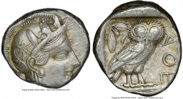 ATTICA. Athens. Ca. 440-404 BC. AR tetradrachm (23mm, 17.16 gm, 9h). NGC Choice XF 3/5 - 4/5. Mid-mass coinage issue. Head of Athena right, wearing cr...