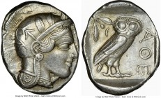 ATTICA. Athens. Ca. 440-404 BC. AR tetradrachm (27mm, 17.18 gm, 7h). NGC XF 5/5 - 3/5, brushed. Mid-mass coinage issue. Head of Athena right, wearing ...