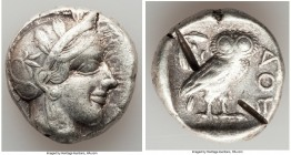 ATTICA. Athens. Ca. 440-404 BC. AR tetradrachm (25mm, 17.15 gm, 1h). VF, test cuts. Mid-mass coinage issue. Head of Athena right, wearing crested Atti...
