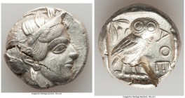 ATTICA. Athens. Ca. 440-404 BC. AR tetradrachm (24mm, 17.18 gm, 10h). Choice VF, test cut. Mid-mass coinage issue. Head of Athena right, wearing crest...