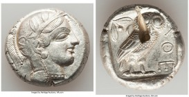 ATTICA. Athens. Ca. 440-404 BC. AR tetradrachm (25mm, 16.95 gm, 4h). XF, test cut. Mid-mass coinage issue. Head of Athena right, wearing crested Attic...