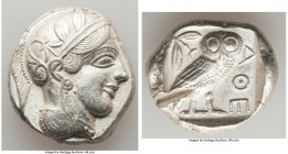 ATTICA. Athens. Ca. 440-404 BC. AR tetradrachm (25mm, 16.95 gm, 10h). Choice XF, test cut. Mid-mass coinage issue. Head of Athena right, wearing crest...