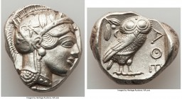 ATTICA. Athens. Ca. 440-404 BC. AR tetradrachm (25mm, 17.19 gm, 3h). AU. Mid-mass coinage issue. Head of Athena right, wearing crested Attic helmet or...