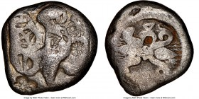 ELIS. Olympia. 78th-82nd Olympiad. Ca. 468-452 BC. AR stater (25mm, 11.03mm, 1h). NGC VG 4/5 - 1/5, countermarks. Eagle flying left, wings spread abov...