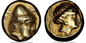 LESBOS. Mytilene. Ca. 377-326 BC. EL hecte (11mm, 2.57 gm, 6h). NGC Choice VF 3/5 - 4/5. Head of young Cabeiros right, wearing wreathed pileus helmet;...