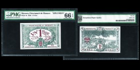 Monaco Albert Ier 1889-1922 Billet de 1 Franc Blue, 1920, Cancelled Specimen, ESSAI NON REMBOURSABLE Ref : G. MCc, Pick 4bs Conservation : PMG Gem 66 ...