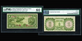 Federal Reserve Bank of China  1 Yuan 1938  Ref : Pick#J61a, S/M#C286-12  Conservation : PMG Choice Uncirculated 64 EPQ