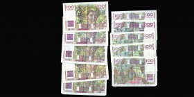 Banque de France Lot de 5 billets de 100 Francs Paysan Ref : Pic#128, F.28 Conservation : VF