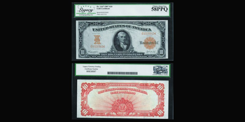 USA 1907 gold certificate, Ten Dollars bill Ref : Fr. 1167 Cobservation : PMG Ch...