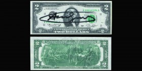 USA Federal Reserve Note 2 Dollars Jefferson, series 1976, green seal Signed by Andy Warhol  Almost Uncirculated