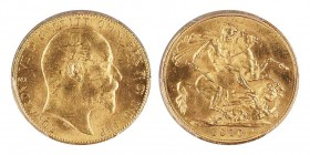Edward VII, 1901-1910 Sovereign, Sydney, 1910 S, AU 7.98 g. 917‰ Ref : Marsh 203, Fr. 38, KM#15, S. 4003 Conservation : PCGS MS64