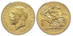 George V 1910-1936 Sovereign, Perth, 1930 P, AU 7.98 g. 917‰ Ref : Marsh 269 (R), Fr. 40, KM#29, Spink 4002 Conservation : PCGS MS64. Rare