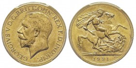George V 1910-1936 Sovereign, Perth, 1931 P, AU 7.98 g. 917‰ Ref : Marsh (270), Fr. 40, KM#29, Spink 4002 Conservation : PCGS MS65+