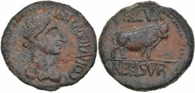Spain. Celsa. Circa 44-36 BC. Æ As (15.38g, 30mm, 6h). L. Nep. and L. Sura, duoviri. Diademed female head (Venus?) right / Bull standing right. RPC 26...