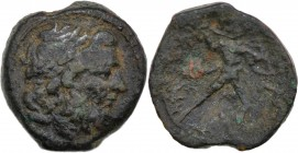 Bruttium, The Brettii. Circa 211-208 BC. Æ Uncia (18mm, 5.02g, 7h). Laureate head of Zeus right, thunderbolt behind / ΒΡΕΤΤΙΩΝ, Naked warrior advancin...