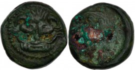 Bruttium, Rhegion. 415-387 BC. Æ (10mm, 1.76g, 6h). Lion mask facing / Laureate head of Apollo right. SNG Cop. 1942-1943; Rutter, South, Group XI; HN ...