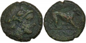 Bruttium, Rhegion. 260-215 BC. Æ (15mm, 3.16g, 9h). Head of Apollo right; lyre behind / Lion walking right. SNG ANS 727-728 var. (no lyre); HGC 1, 169...