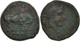 Sicily, Gela. 420-405 BC. Æ Tetras (17mm, 4.24g, 1h). ΓEΛAΣ, bull standing right, three pellets in exergue / Head of river-god Gelas to r. with flowin...