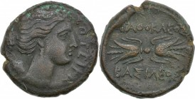 Sicily, Syracuse. Agathokles. 317-289 BC. Æ Trias (21mm, 9.44g, 1h). Struck circa 304-289 BC. Draped bust of Artemis Soteira right, with quiver over s...