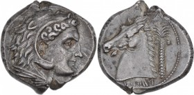 Sicily. Entella. Punic issues. Circa 300-289 BC. AR Tetradrachm (25mm, 17.26g, 6h). Head of Herakles right, wearing lion skin / Head of horse left; cl...