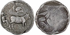 Thraco-macedonian tribes, Derrones. Circa 480-465 BC. AR Dodekadrachm (34mm, 33.68 g). Ox cart driven right by man holding whip in right hand and rein...