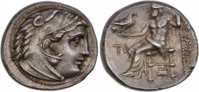 Kings of Macedon. Philip III Arrhidaios. 323-317 BC. AR Drachm (16mm, 4.26 g, 12h). In the name and types of Alexander III. Sardes mint. Struck under ...