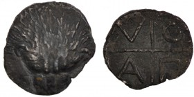 Tauric Chersonesos. Pantikapaion Circa 425-400 BC. AR Diobol. (11mm, 1.22g, 10h). Lion head facing / Quadripartite incuse square; A-Π-O-Λ in quarters....