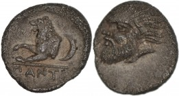 Tauric Chersonesos. Pantikapaion. Circa 380-370 BC. AR Obol (8mm, 0.82 gm, 7h). Bearded head of Pan left / PANTI, forepart of lion left; crescent behi...