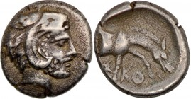Thessaly. Skotussa. Early 4th Century BC. AR Obol (9mm, 0.87g 6h). Head of Herakles to right, wearing lion skin headdress. Rev. Σ-KO Forepart of bridl...