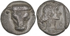 Phokis, Federal Coinage. Circa 445-420 BC. AR Triobol (14mm, 2.87 g, 5h). Facing bucranium / Laureate head of Apollo right within incuse square. BCD L...