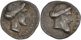 Cilicia, Nagidos. Circa 400-380 BC. AR Obol (8mm, 0.75g, 7h). Head of Aphrodite right, hair in chignon / Bearded male head of Dionysos right, (N)АГIДE...