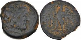 Ptolemaic kingdom of Egypt. Ptolemy II Philadelphos. 285-246 BC. Æ Obol (23mm, 11.56g, 11h). Tyre mint. Diademed head of Zeus-Ammon right / Eagle with...
