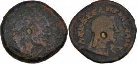 Ptolemaic kingdom of Egypt. Ptolemy III Euergetes 246-222 BC. Æ Dichalkon (15mm, 2.11g, 12h). Kyrene mint. Diademed head of Ptolemy I right / Draped b...